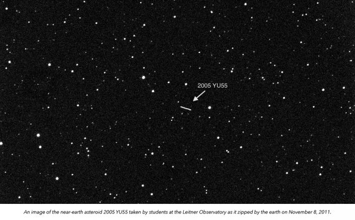 An image of the asteroid 2005 YU55 taken by students at LFOP on November 8, 2011.